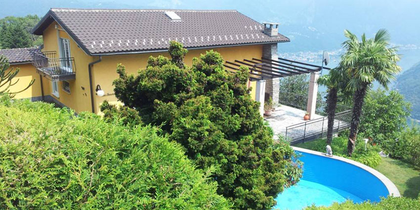 CARONA: Villa con splendida vista lago e piscina
